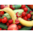 blurred background with fruits vegetables and eco vector image