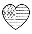 figure nice heart with usa flag inside vector image