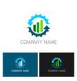 gear business trade arrow company logo vector image