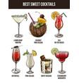 set of seven summer cocktails vector image