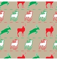 Christmas pattern deer green and red vector image