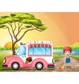 A boy with a cat beside an icecream truck vector image