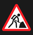 road works sign flat icon vector image