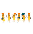set of happy cartoon pencils vector image