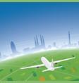 barcelona skyline flight destination vector image