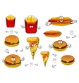 Fast food french fries pizza hotdog and burgers vector image vector image