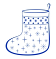 christmas stocking with furtrees pictogram vector image