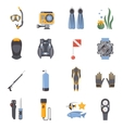 Diving And Snorkeling Flat Decorative Icons vector image