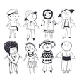 Cartoon kids in different traditional costumes vector image