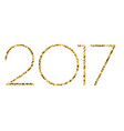 happy new year 2017 gold glitter text on white vector image