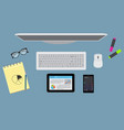 office desktop organzation with stationary vector image