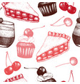 vintage background with traditional cherry cakes vector image