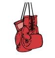 Hand drawn boxing gloves isolated on white vector image