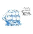Vintage ship under full sail in ocean vector image vector image