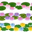 Natural seamless borders with lotus flowers and vector image vector image