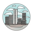building set big city in circular frame with cloud vector image