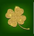 golden clover for st patricks day four leaf vector image