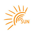 hand drawn sun icon isolated on white background vector image
