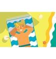 Man sunbathes on the beach under sun vector image