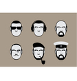 set of icons of male stylized faces vector image