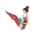 young pin-up model sitting with book in hand vector image