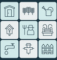 set of 9 gardening icons includes water monument vector image