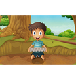 A boy holding an eggtray in the forest vector image