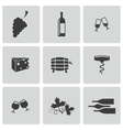 black wine icons set vector image
