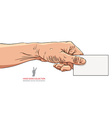 Hand giving business card detailed vector image
