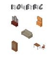 isometric design set of couch drawer cabinet and vector image