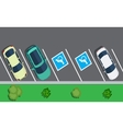 Parked cars on the parking top view vector image