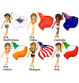 People and flags vector image
