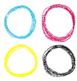 Set of CMYK circle spots of pastel crayon isolated vector image
