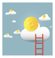 stairs leading to gold coin on clouds vector image