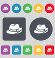 hat icon sign A set of 12 colored buttons Flat vector image