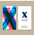 business card letter X vector image vector image