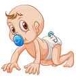 Little baby sucking on pacifier vector image
