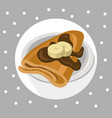 pancakes chocolate syrop and banana flavor vector image