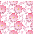 Seamless pattern with pink 3d sakura cutting paper vector image