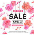 spring sale banner with roses pearls and ribbons vector image