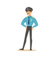 smiling police officer standing character vector image vector image