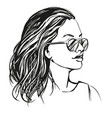 girl in sunglasses beautiful woman face hand vector image vector image