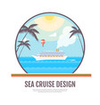 flat style design of cruise liner in the ocean vector image