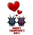 Valentines day card with devils in love vector image vector image