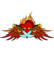 Wings dagger and flaming heart vector image