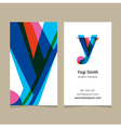 business card letter Y vector image