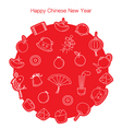 Chinese New Year Outline Icons Set In Circle Mono vector image