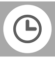Clock flat dark gray and white colors round button vector image