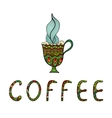 Coffee cup doodle and Coffee inscription vector image