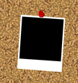 Cork board with instant photo frame and push pin vector image